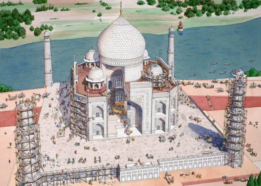 Illustration of construction of Taj Mahal
