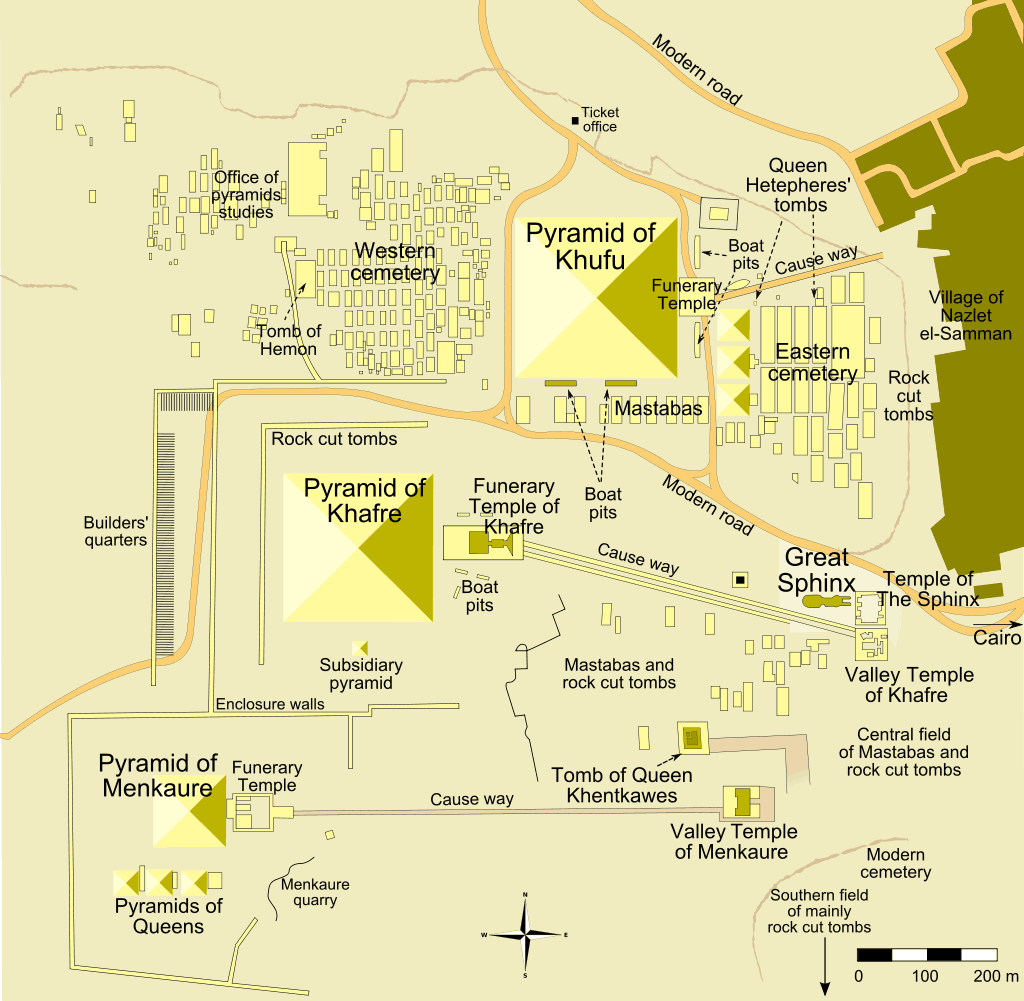 Map of the pyramids of Giza