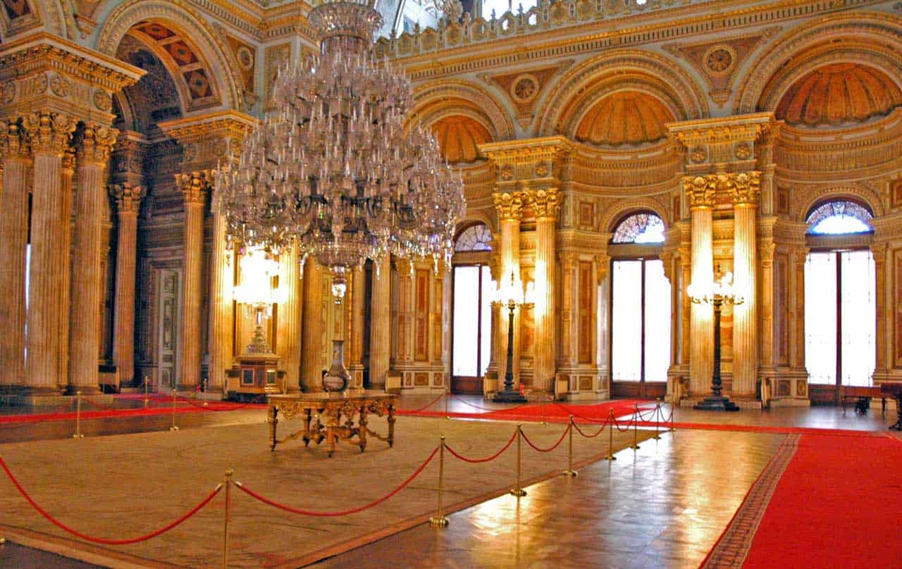One of the main halls of the Dolmabahce Palace