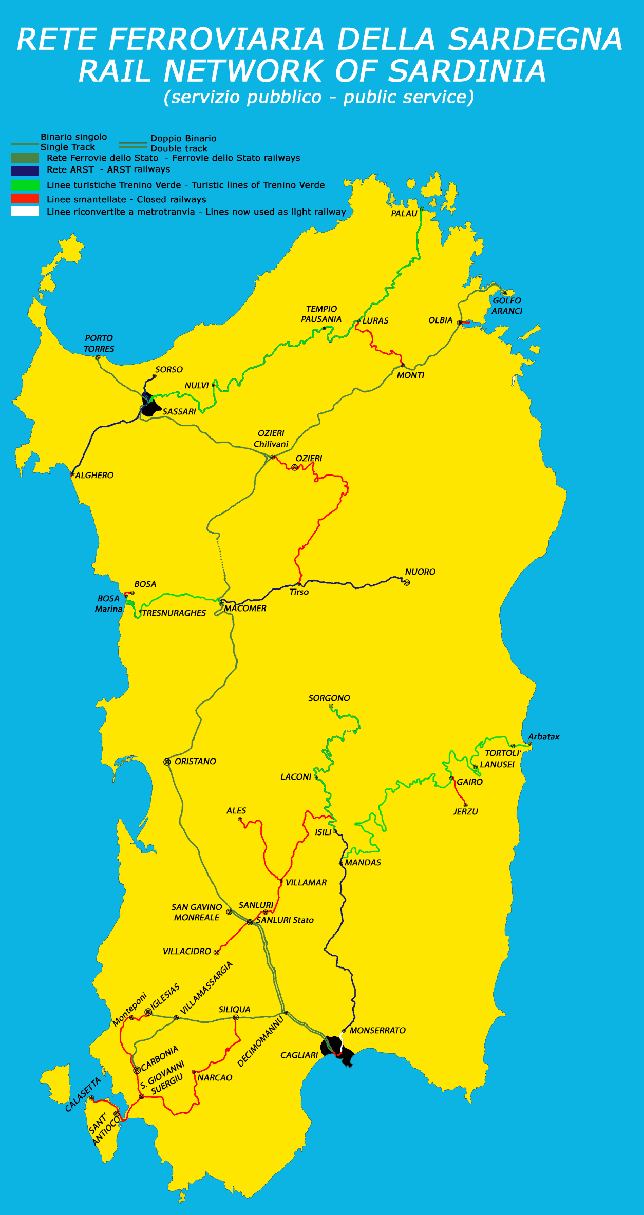 Sardinia Island rail network