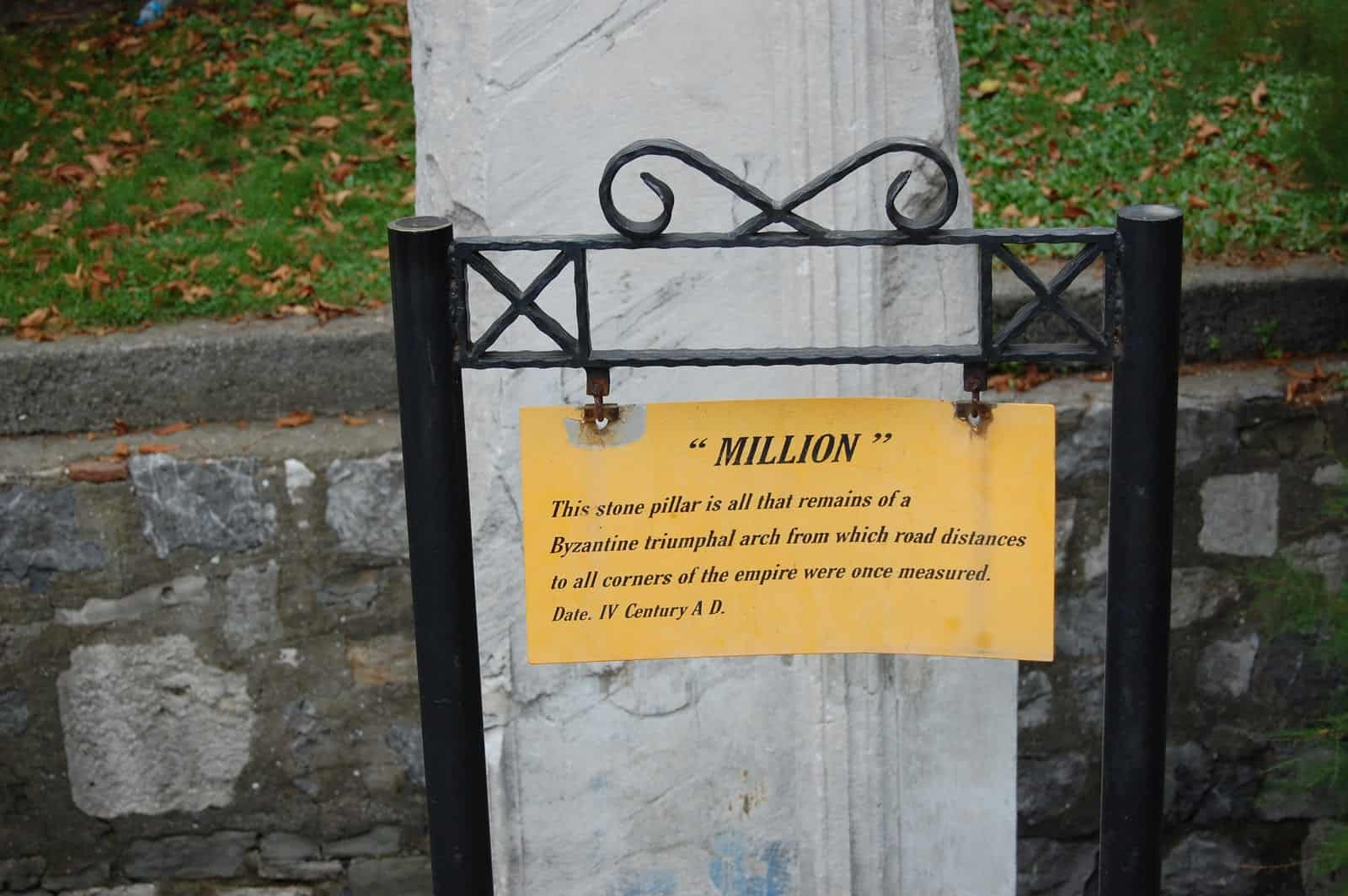 Milion Stone with sign