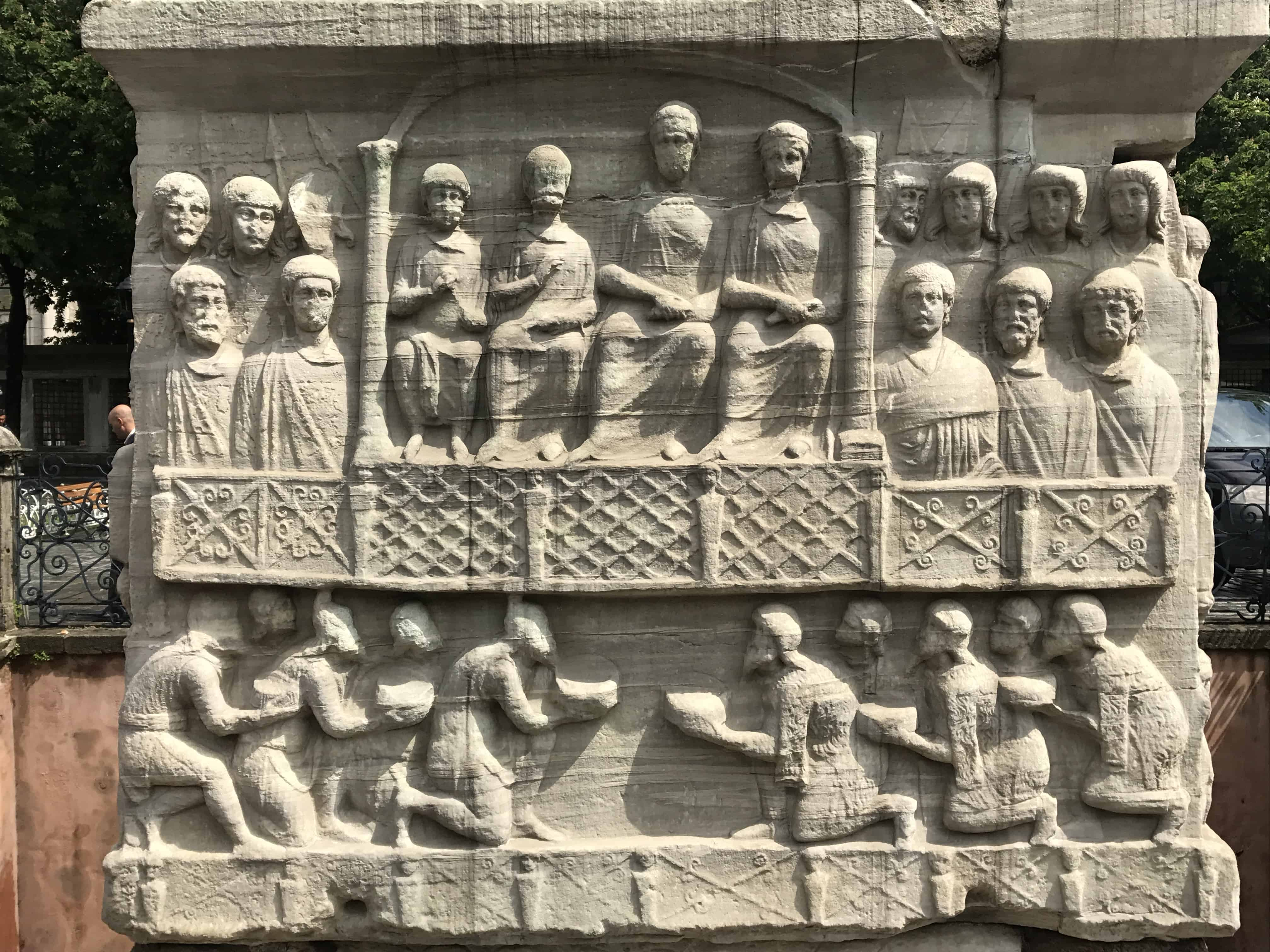 The NW side of the Obelisk of Theodosius's base