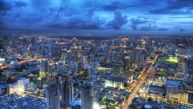 Panoramic Bangkok view from Baiyoke Sky Hotel Observation Deck