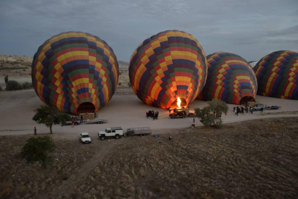 cappadocia hot air balloon on the ground