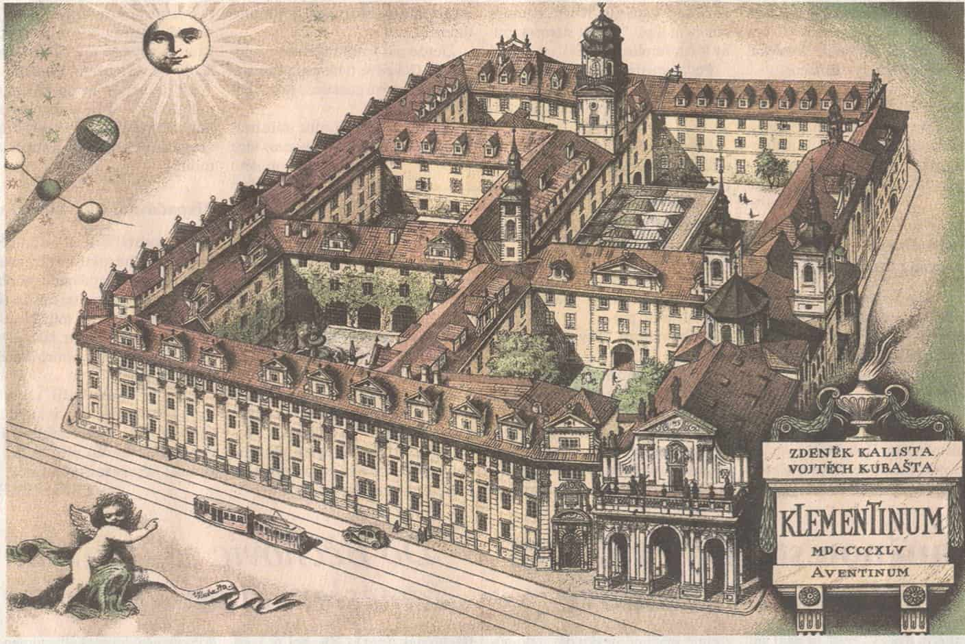 Drawing of the Clementinum and the National Library