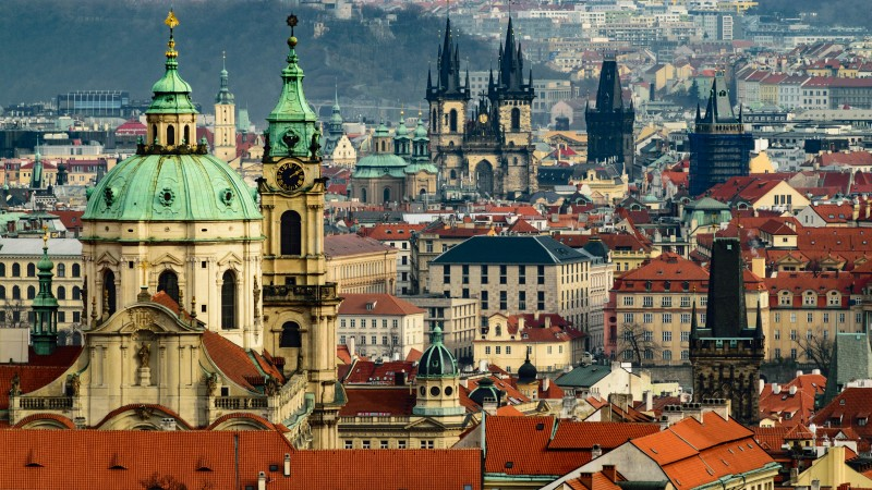 Panoramic Prague view and old town