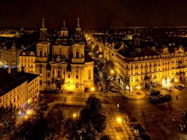 Modern Prague at night
