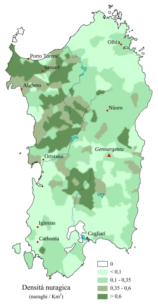 Density map of nuraghes on Sardinia per km².