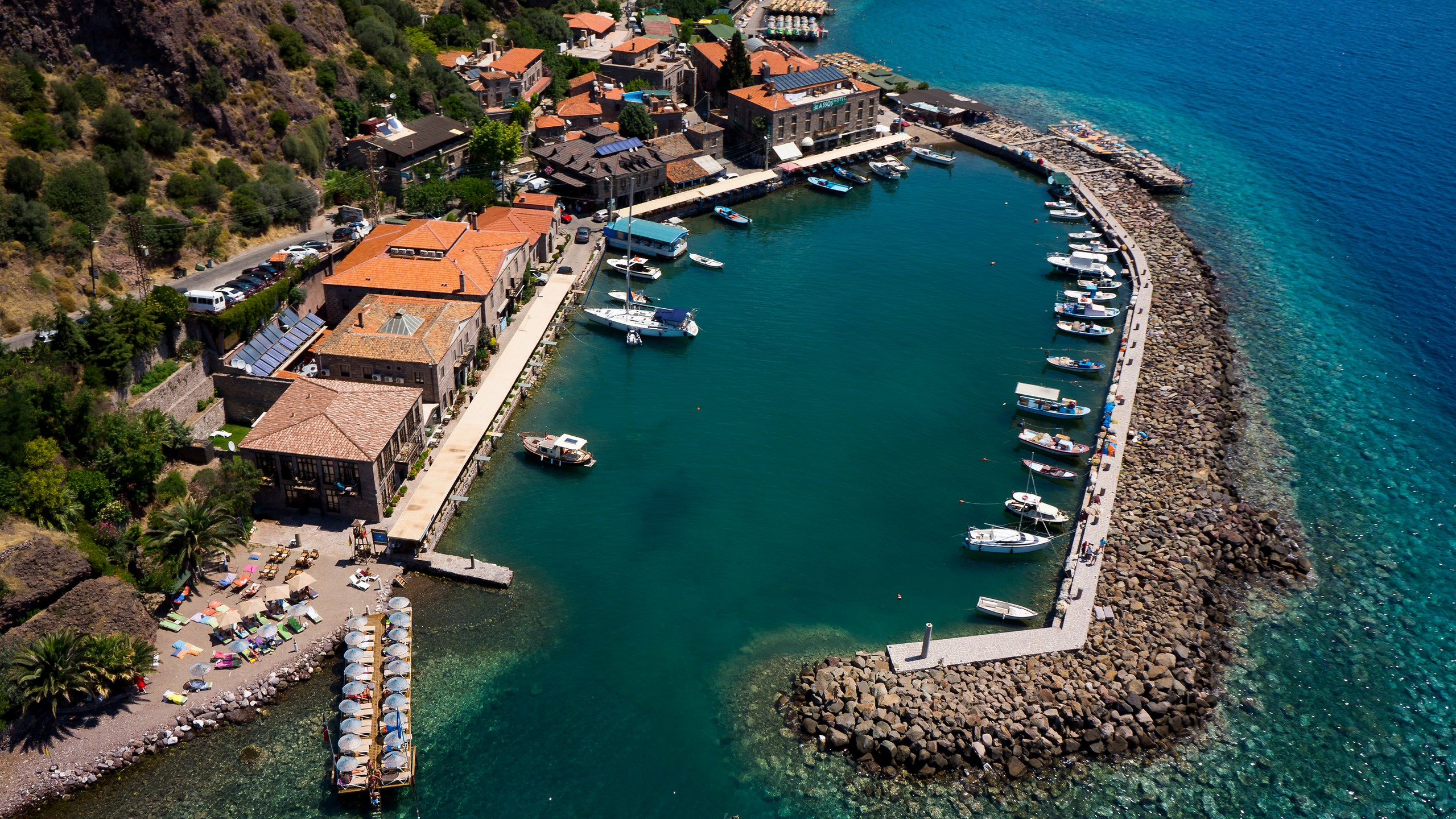 Assos harbor from above
