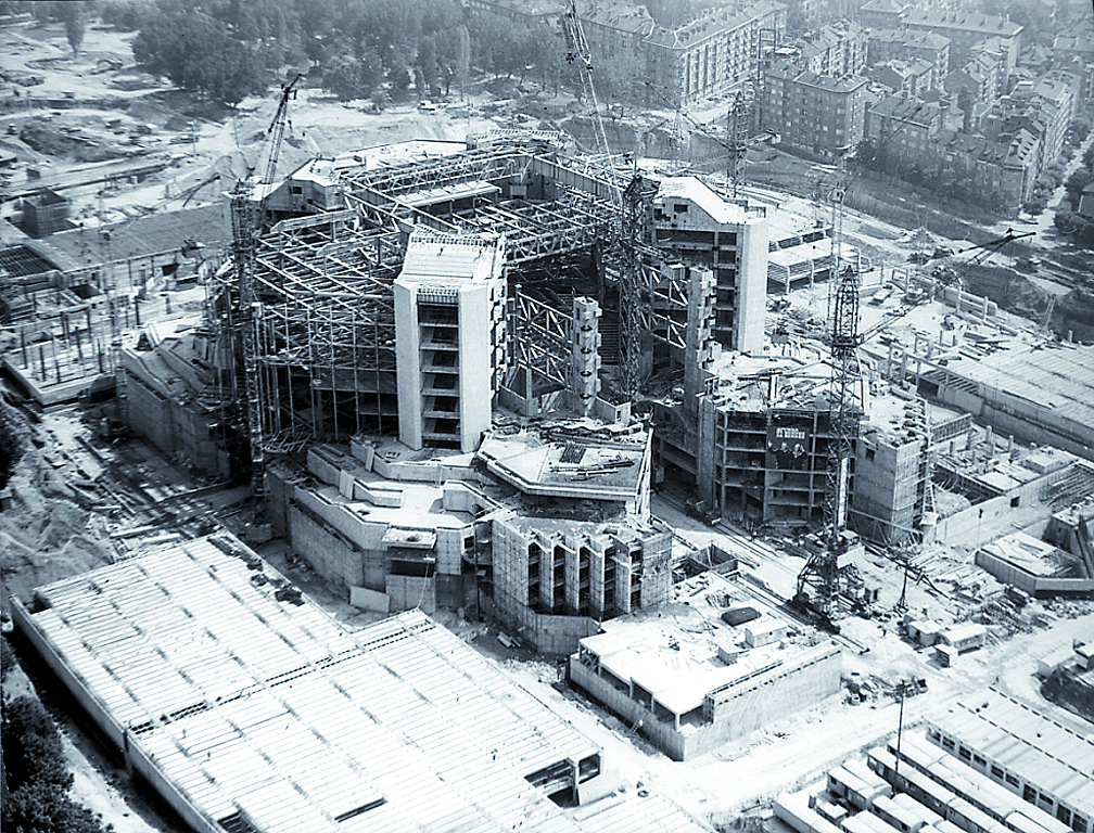 An image from the construction of the National Palace of Culture History in 1975